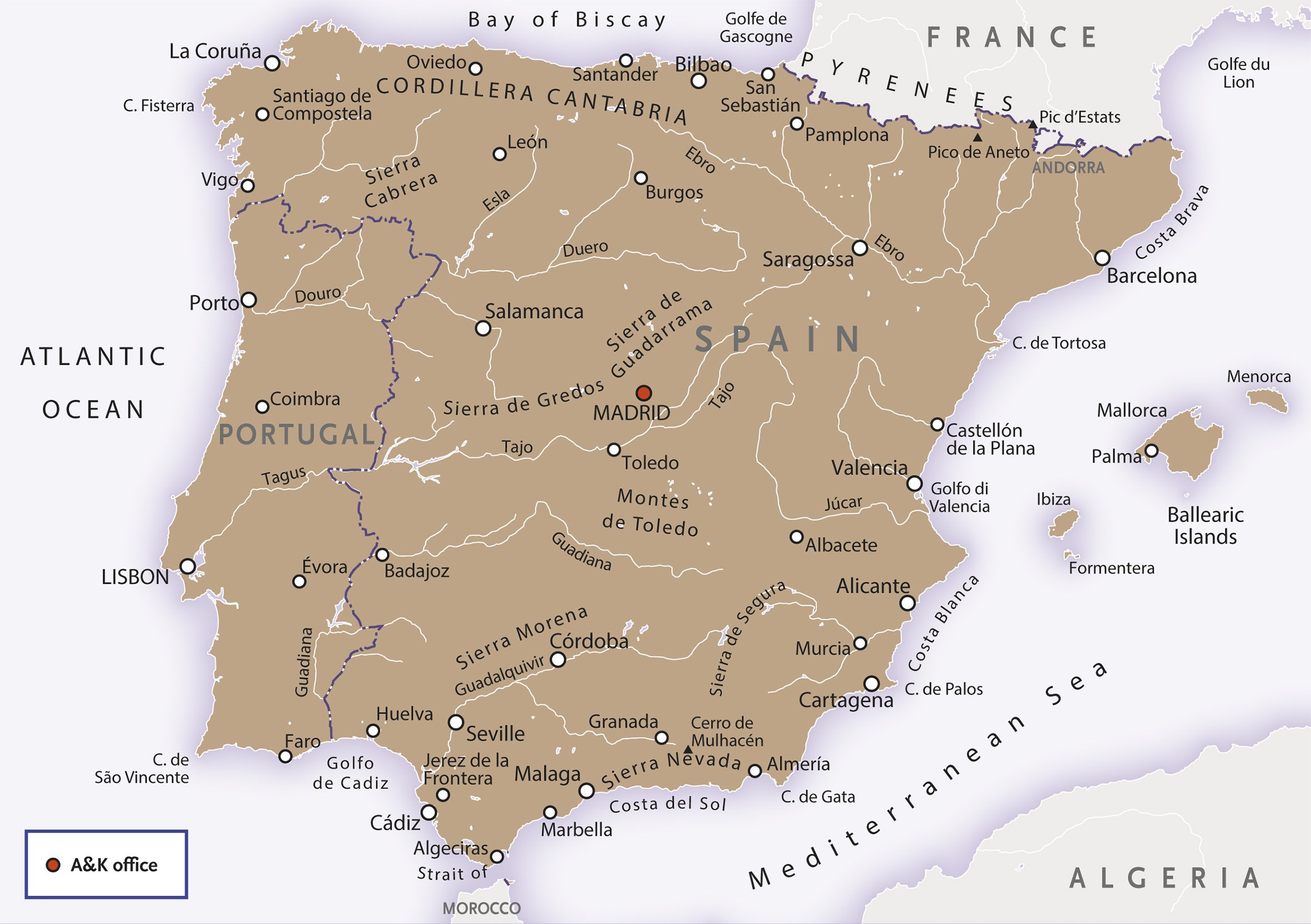 Spain & Portugal Map
